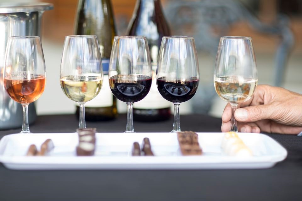 Flight of wine and chocolate at Hudson Valley Wine & Chocolate Festival, New Paltz