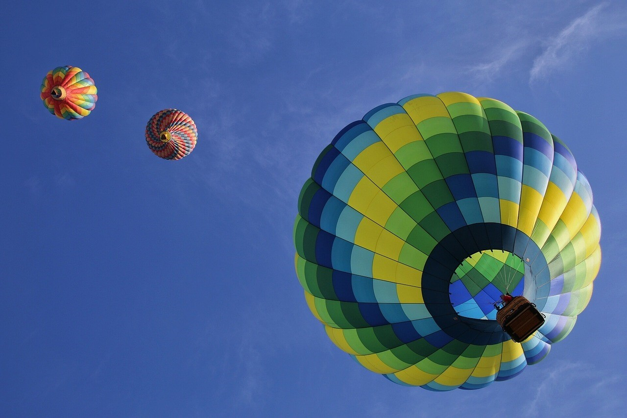 Hot air balloons in flight at Hudson Valley Hot-Air Balloon Festival