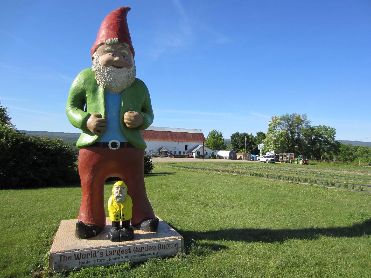 Gnome statue at Kelder's Farm in Kehonkson, New York