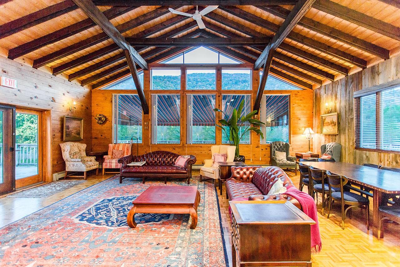 Interior waiting room at Copperhead Retreat & Spa in Shandaken, New York