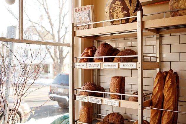 freshly baked bread on shelves at Bread Alone in Hudson Valley