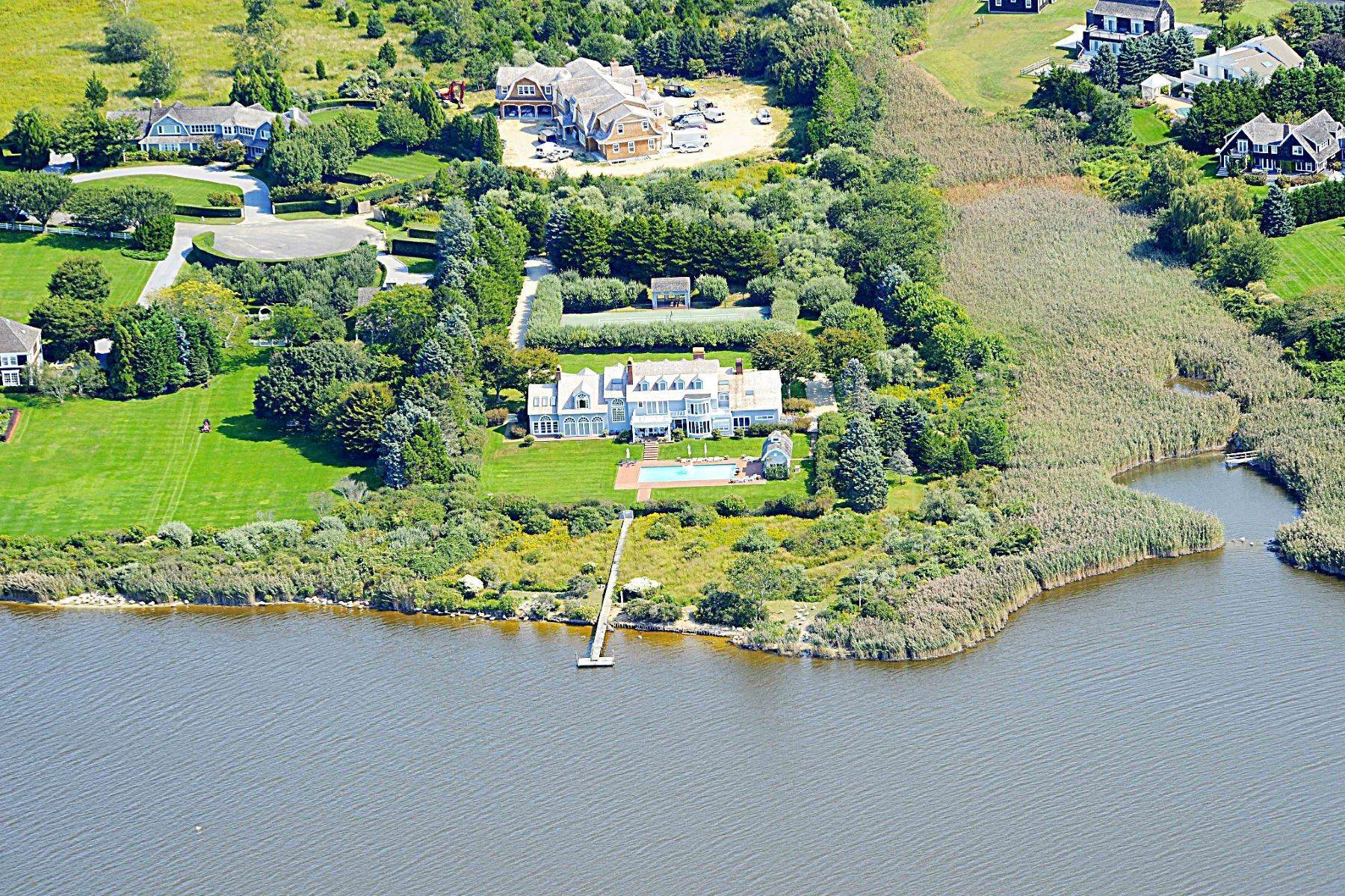 Single Family Homes for Sale at On Hayground Cove, Pool, Tennis & Dock 263 Olivers Cove Road Water Mill, New York 11876 United States